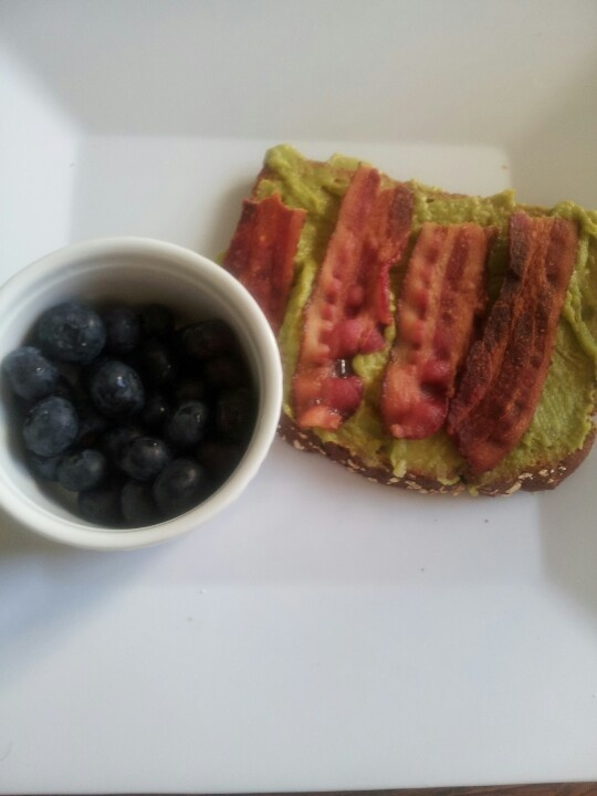 Avocado & bacon sammy with side of blueberries breakfast for under 300 ...