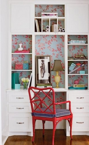 red and blue wallpaper....what a great space