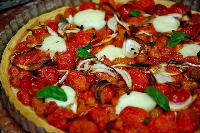 Tomato, Onion, Basil and Mozzarella Tart | Vegetarian Recipes | Pinte ...