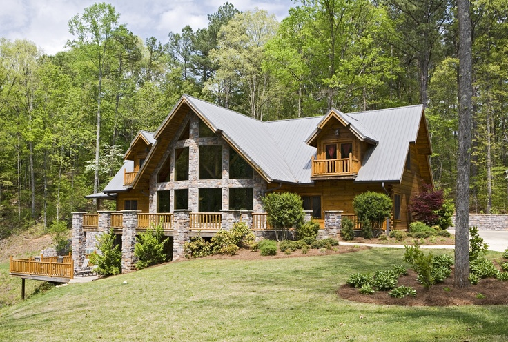 Log Home With Stone Prowl For The Home Pinterest