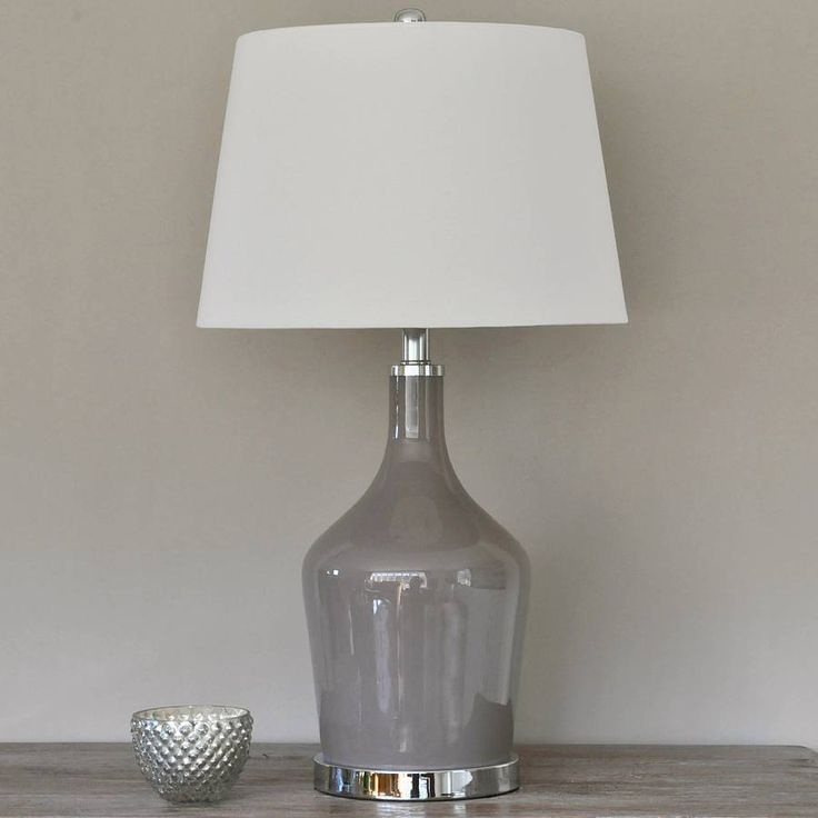 Grey Glass Table Lamp And Shade