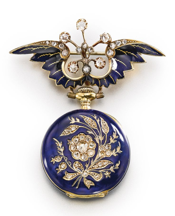 HAAS NEVEUX & CIE: AN 18K YELLOW GOLD, ENAMEL AND DIAMOND-SET PENDANT WATCH WITH BROOCH CIRCA 1900, diameter 24 mm
