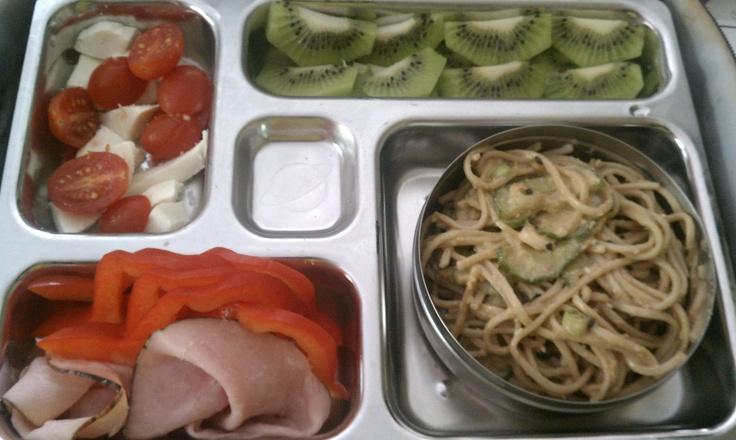 ... sauce, ham rolls, red pepper slices, tomato and mozzarella, kiwi