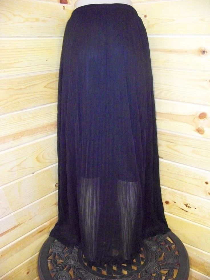 nwt black pleated crinkled with lining maxi skirt