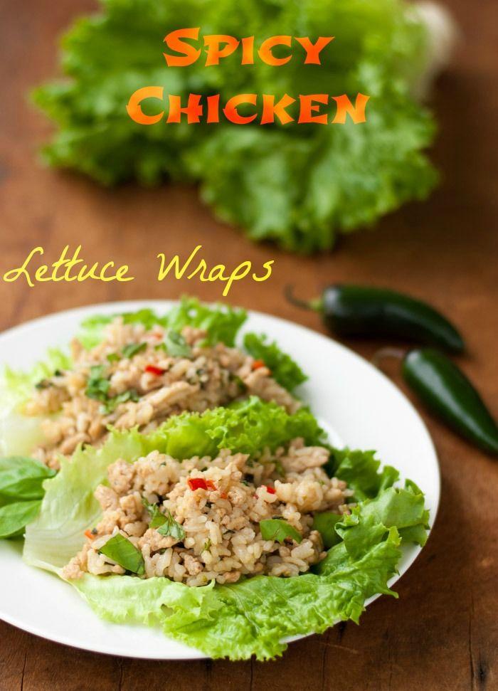 Spicy Chicken Lettuce Wraps - thekitchensnob.com #recipe #chicken