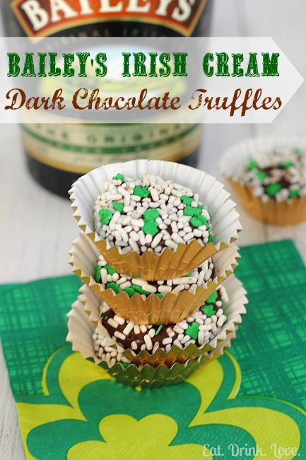 Bailey's Irish Cream Dark Chocolate Truffles. I might substitute ...