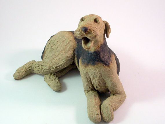 Ceramic dog sculpture oliver woofy clay figurine dog ornament