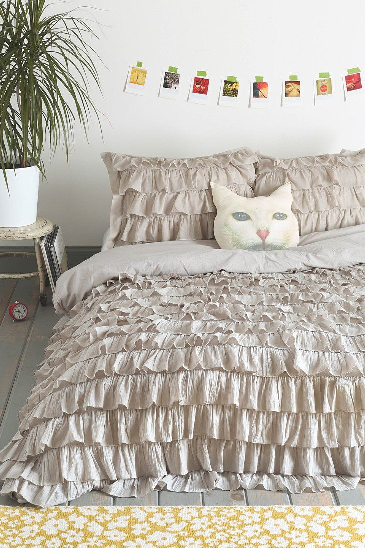 Waterfall ruffle duvet cover for the casa pinterest for Frilly bedspreads