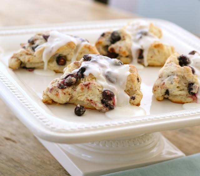 Blueberry Scones with Lemon Glaze | tea ideas | Pinterest