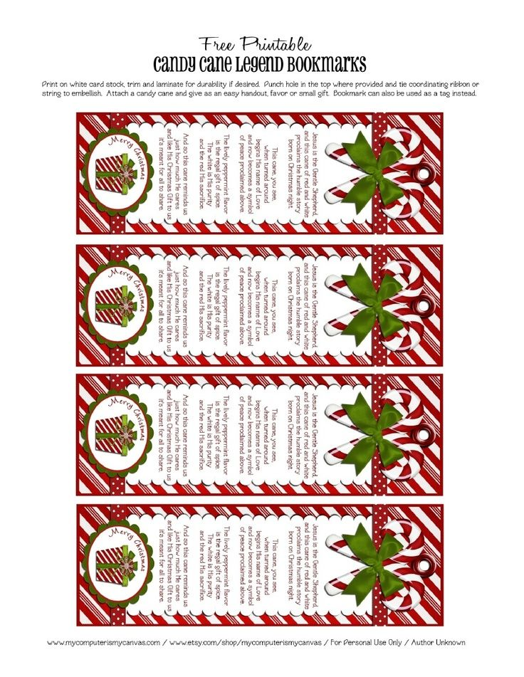 of candy cane printable | Free bookmark printables of the Candy Cane ...