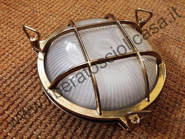 Plafoniera Da Esterno Tartaruga : Lampada applique oblo in ottone