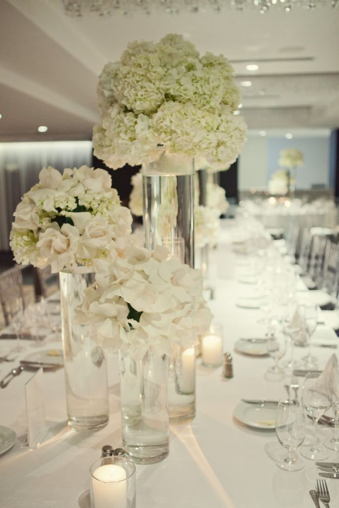 White modern reception wedding flowers wedding decor for White wedding table decorations