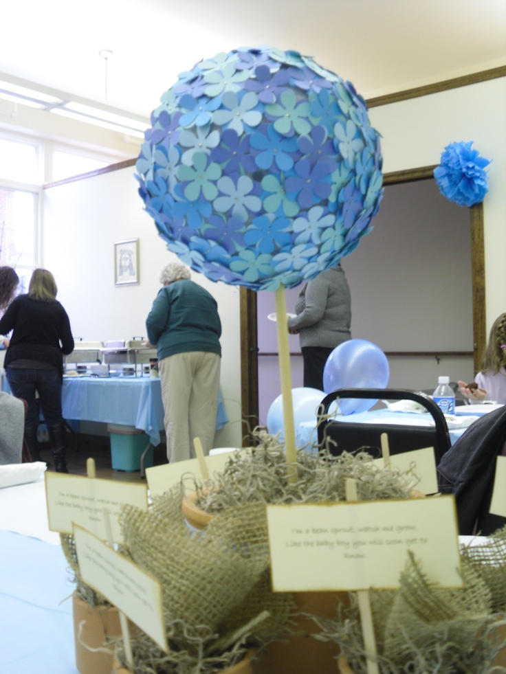 Baby boy shower centerpieces babies and brides pinterest for Baby boy shower decoration