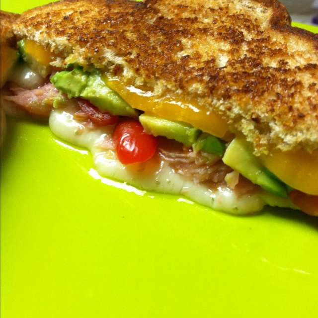 Grilled cheese avocado, ham and tomato. Must give credit to ...