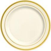 cream gold trimmed premium plastic dinner plates 10ct