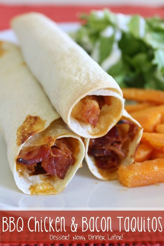 BBQ Chicken & Bacon Taquitos | Recipes to Cook II | Pinterest