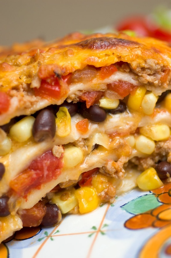 Mexican Lasagne-use tortillas instead of noodles for layers...or ...
