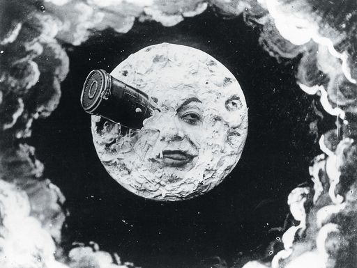 A legendary scene from A Trip to the Moon (Le Voyage dans la lune), a 1902 French B silent sci-fi film that based loosely on Jules Verne's From the Earth to the Moon and H.G. Wells' The First Men in the Moon. The film was written and directed by Georges Méliès. Its wide popularity inspires Smashing Pumpkin's music video for their song, Tonight Tonight and a 2011 Martin Scorsese's new film, Hugo.