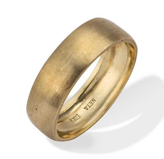 Gold Wedding Ring Classic Brushed Matte 18K Gold Wedding Ring From Netawolpe On Etsy