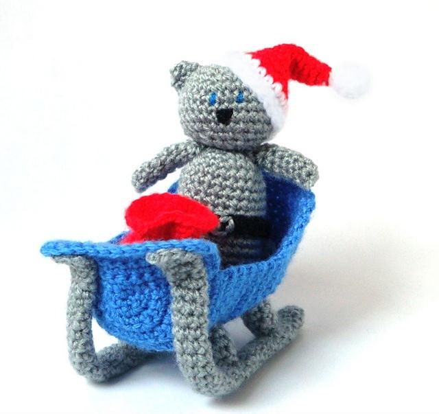 Tiny Crochet Doll Patterns : Amigurumi Pattern Sleigh Santa Cat - Crochet PDF Pattern ...