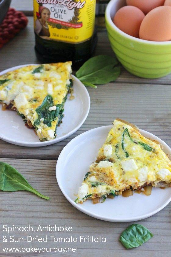 Spinach, Artichoke & Sun-Dried Tomato Frittata #mothersday #brunch # ...