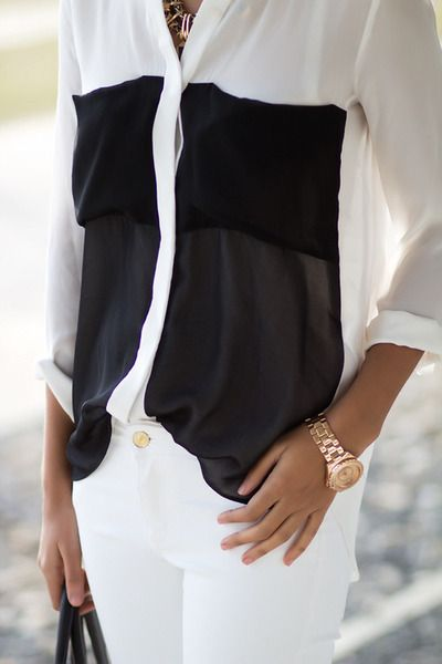 Black and White button down blouse