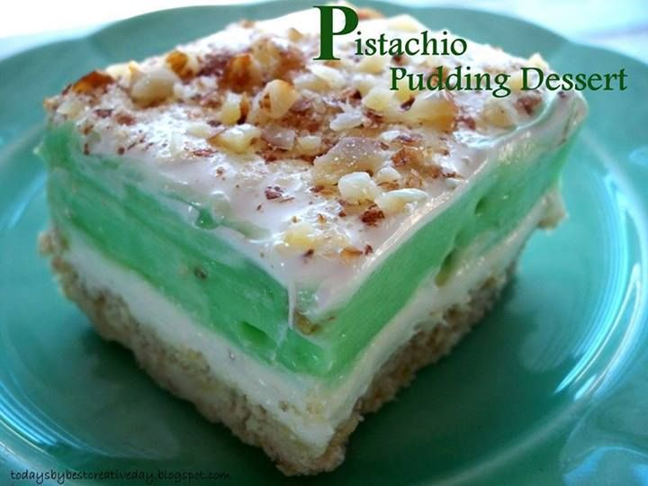 Pistachio Pudding Dessert.Pie crust:1 stick butter,1 c flour,1 c chp ...