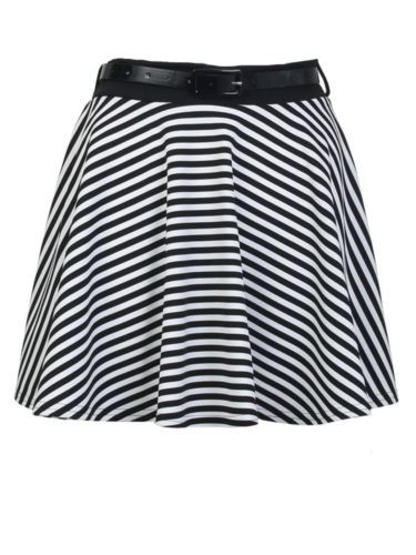 New Womens Spring Summer Casual School Stripe Jersey Skater Flared Frilled Skirt
