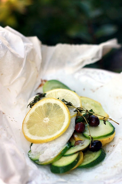 Lemon and Summer Squash Fish Baked in Parchment