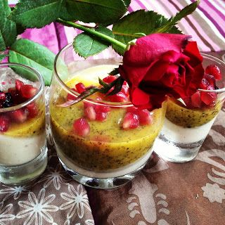Yogurt, Honey and Vanilla Bean Panna Cotta with Passion Fruit Gelée