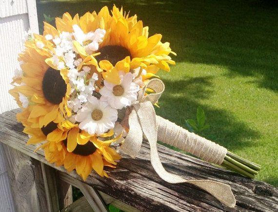 17 Piece Sunflower Bouquet Yellow Sunflower Bridal Bouquet