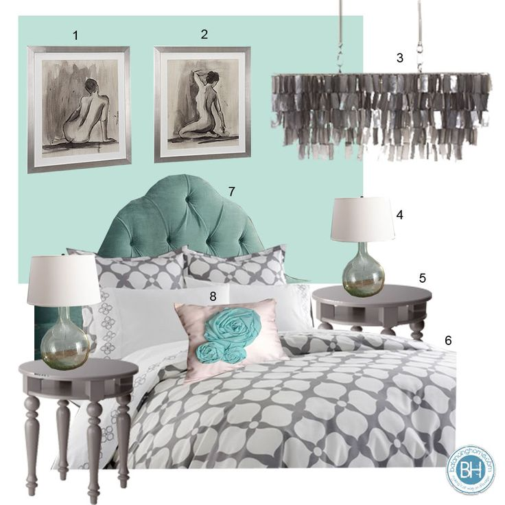 Antiguan blue and gray master bedroom moodboard by Balancing Home http://www.balancinghome.com/2011/08/antiguan-blue-and-gray-bedroom.html