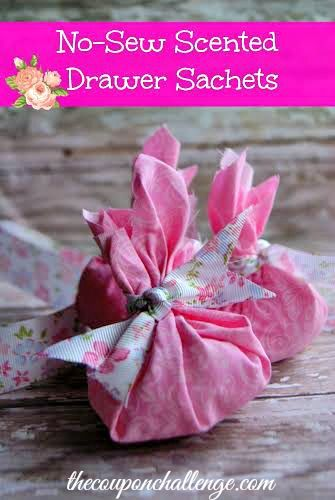 No-Sew Scented Drawer Sachet - How to Make a Sachet.  Perfect as a hostess gift, basket filler or Valentine's Day gift