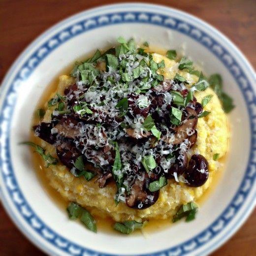 Fresh Corn Polenta with Tomato Corn Broth and Mushrooms - Dana Treat ...