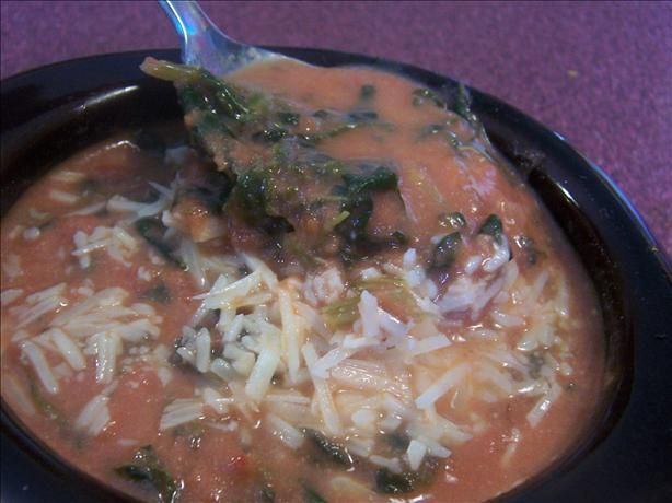 Tomato and Spinach Soup (add frozen cheese tortellini and rotisserie ...