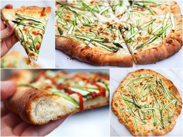 Asparagus Gruyere Pizza with Garlicky Whipped Ricotta | Recipe
