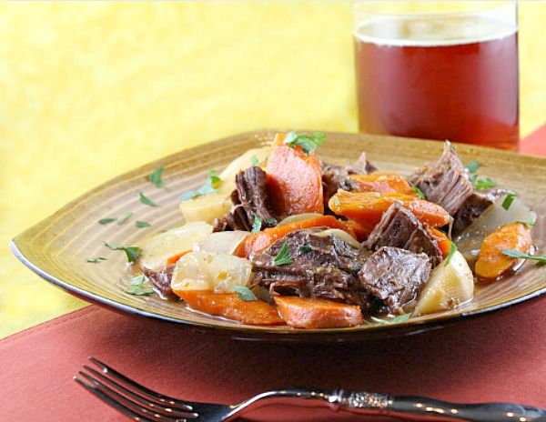 Beer Braised Beef with Onion, Carrots and Turnips #recipe
