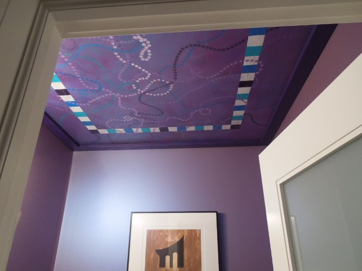 Painted canvas on #bathroom ceiling is easy way to hide an ugly ceiling in a small space.