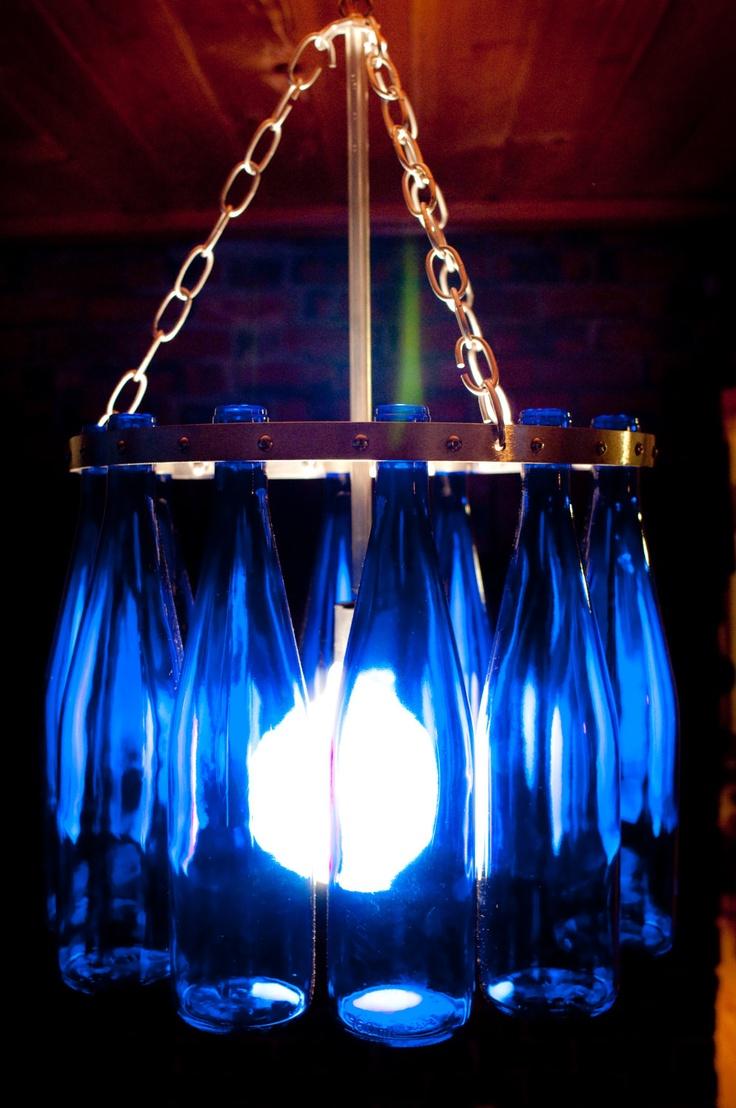 Custom made recycled wine bottle chandelier - Wine bottles chandelier ...