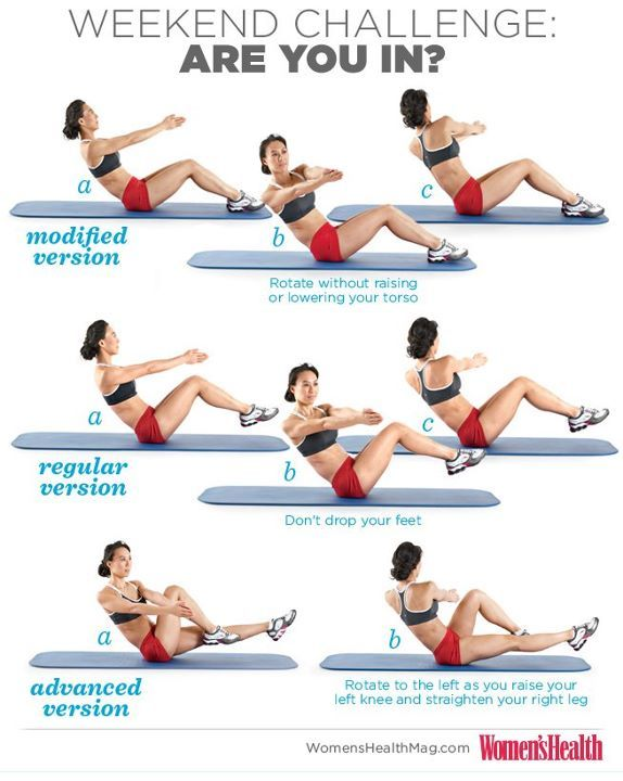 This week's Weekend Challenge from Women's Health magazine: Russian Twists! This move targets all of your abdominal muscles, with an emphasis on your obliques. Pick which version you feel most comfortable with and do 3 sets of 8 reps before every meal this weekend. ARE YOU IN? #abs #belly #fitness #workout #exercise