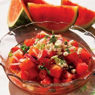 Watermelon Tomato Salad with Feta Cheese Recipe | Nutrition Facts (per ...