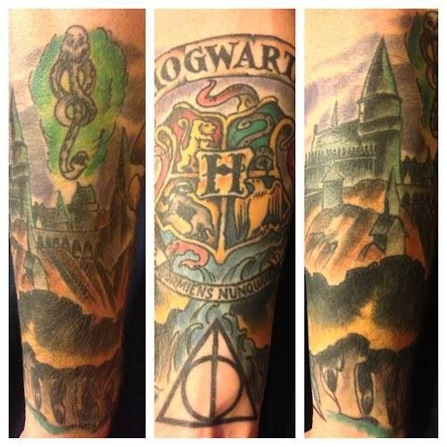 Top slytherin on pinterest images for pinterest tattoos for Harry potter sleeve tattoo