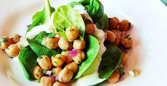 Chickpea and Spinach Salad with Cumin Dressing | KitchenDaily.ca