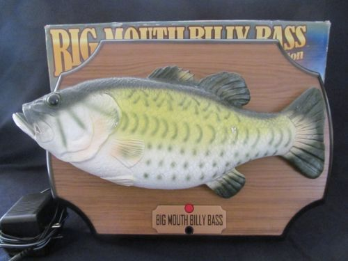 Big mouth billy bass singing dancing fish w adapter crime for Talking bass fish