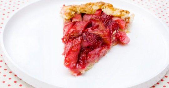 Rhubarb and raspberry crostata. Interesting crust. . .
