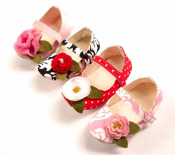 Red Toddler Shoes, Polka Dot Cotton, Spring, White Satin Flower, Girl
