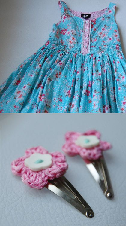 crochet Hair Clips crochet Pinterest