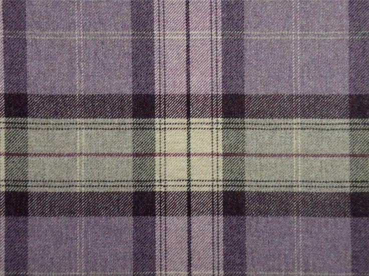 curtain fabric highland wool tartan amethyst check plaid