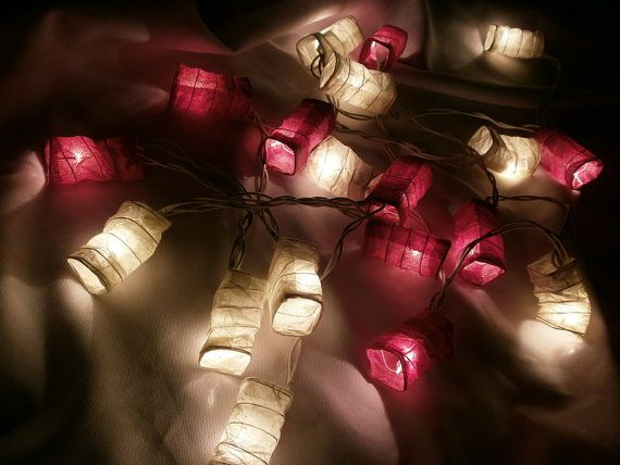 Red and white set chinese paper lantern string lights home decorate i