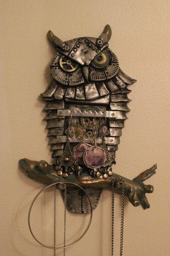 Steampunk Owl Jewellery Key Earring Hanger Display Wall